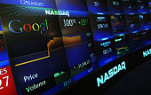 Google's stock price appears on the NASDAQ Marketsite just before the markets close August 19 2004 in New York City Shares of Google Inc closed at...