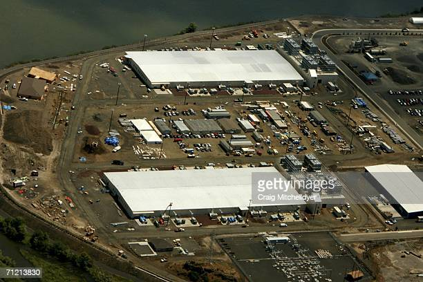 Google's two new computing centers are seen from the air June 15 2006 in The Dalles Oregon The centers each the size of a football field are located...