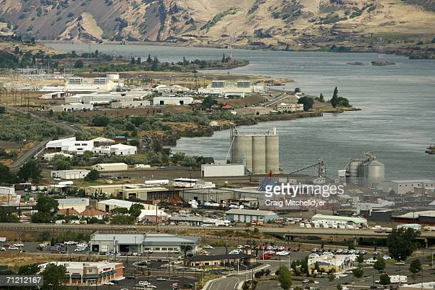 Google's two new computing centers stand along the Columbia River June 15 2006 in The Dalles Oregon The centers each the size of a football field are...