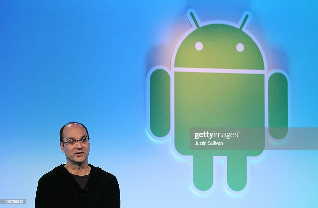 Google's vice president of engineering Andy Rubin speaks during a press event at Google headquarters on February 2, 2011 in Mountain View, California. Google unveiled its Android Honeycomb, operating system, the first Android operating system designed specifically for tablets.