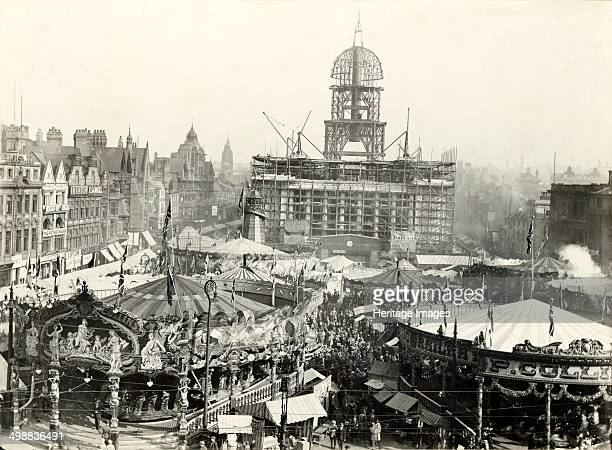 Goose Fair Market Place Nottingham Nottinghamshire 1927 East aspect looking towards The Council House under construction from Beastmarket Hill This...