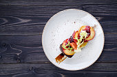 Goose liver with cherry sauce and apples