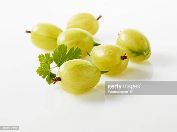 Gooseberries on white background, close-up