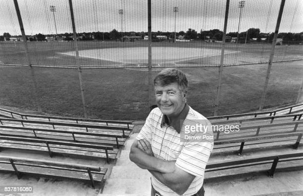 Gooses high school baseball coach stands by the high school field where Goose played prep ball Credit The Denver Post