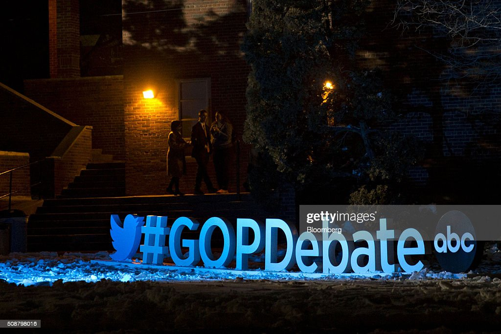 A 'GOPDebate' sign sits on the ground ahead of the Republican presidential candidate debate sponsored by ABC News and the Independent Journal Review at Saint Anselm College in Manchester, New Hampshire, U.S., on Saturday, Feb. 6, 2016. The candidates are battling for next weeks primary in New Hampshire after Trump, the billionaire real estate developer and reality television star, finished second in the Iowa caucus on Feb. 1, behind Texas Senator Ted Cruz. Photographer: Andrew Harrer/Bloomberg via Getty Images