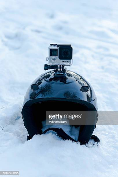 GoPro Hero 4 Black Edition on top of skiing helmet