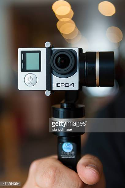 Gopro hero4 with hand gimbal