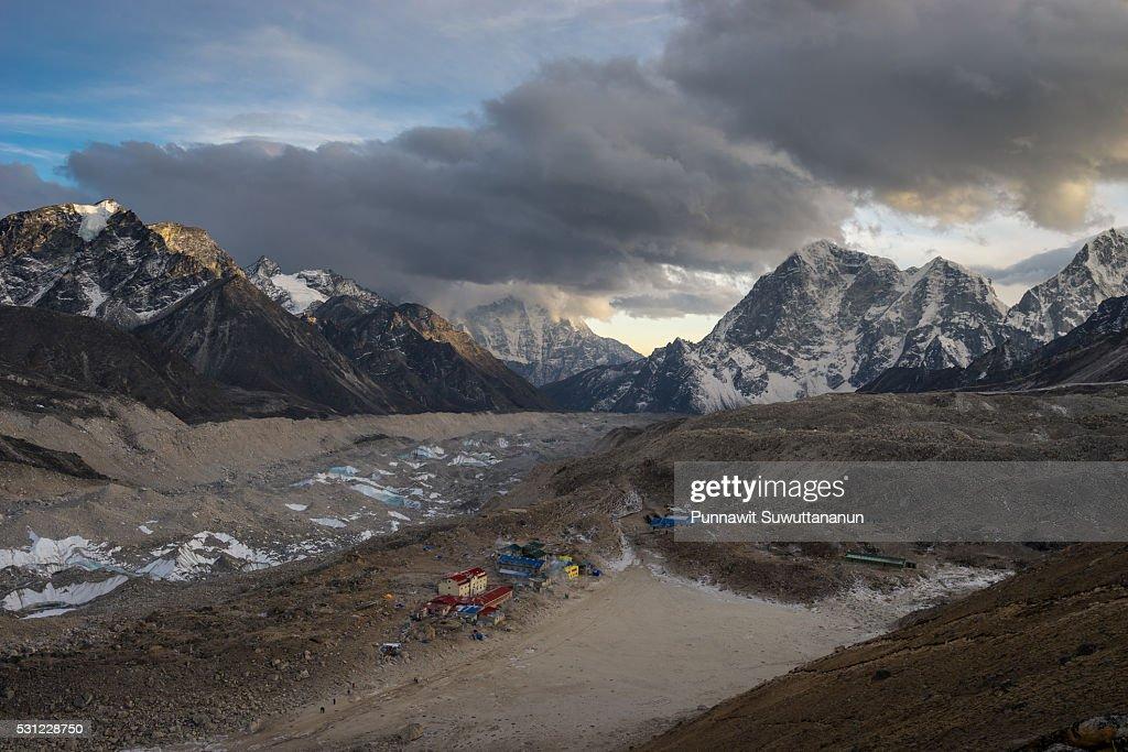 Gorakshep village at sunset, Everest region