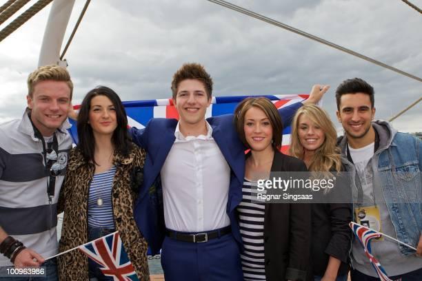 Goran Connolly Joanna Breheny Josh Dubovie Kirsten Joy Gill Suzanne Carley and Filippo Calvagno of the UK attend The Big 4 Boat Trip onboard...