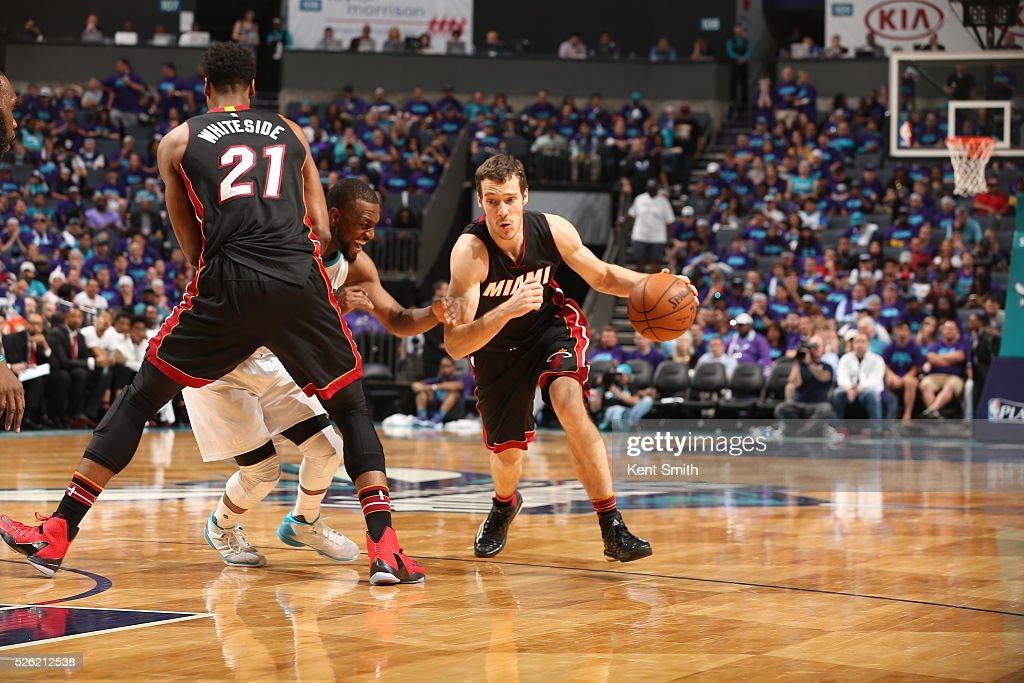 <a gi-track='captionPersonalityLinkClicked' href=/galleries/search?phrase=Goran+Dragic&family=editorial&specificpeople=4452965 ng-click='$event.stopPropagation()'>Goran Dragic</a> #7 of the Miami Heat drives to the basket against the Charlotte Hornets in Game Six of the Eastern Conference Quarterfinals during the 2016 NBA Playoffs on April 29, 2016 at Time Warner Cable Arena in Charlotte, North Carolina.