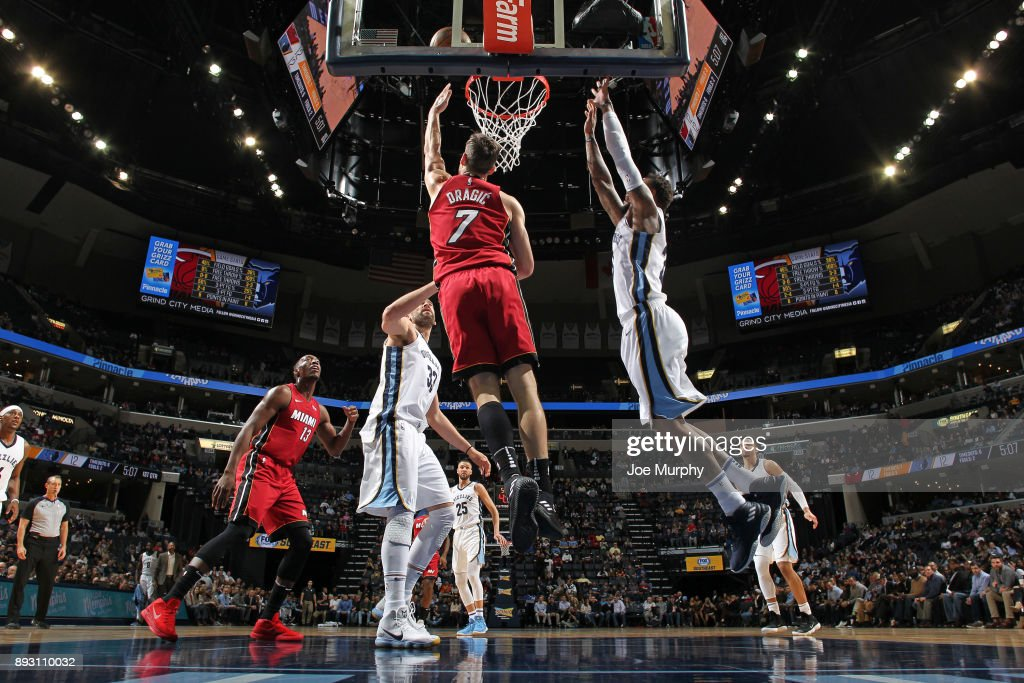 Goran Dragic #7 of the Miami Heat goes for a lay up against the Memphis Grizzlies on December 11, 2017 at FedExForum in Memphis, Tennessee.