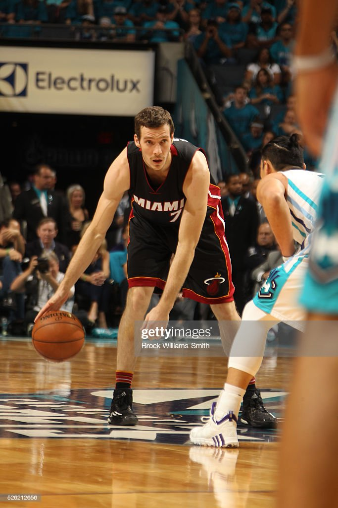 <a gi-track='captionPersonalityLinkClicked' href=/galleries/search?phrase=Goran+Dragic&family=editorial&specificpeople=4452965 ng-click='$event.stopPropagation()'>Goran Dragic</a> #7 of the Miami Heat handles the ball against the Charlotte Hornets in Game Six of the Eastern Conference Quarterfinals during the 2016 NBA Playoffs on April 29, 2016 at Time Warner Cable Arena in Charlotte, North Carolina.