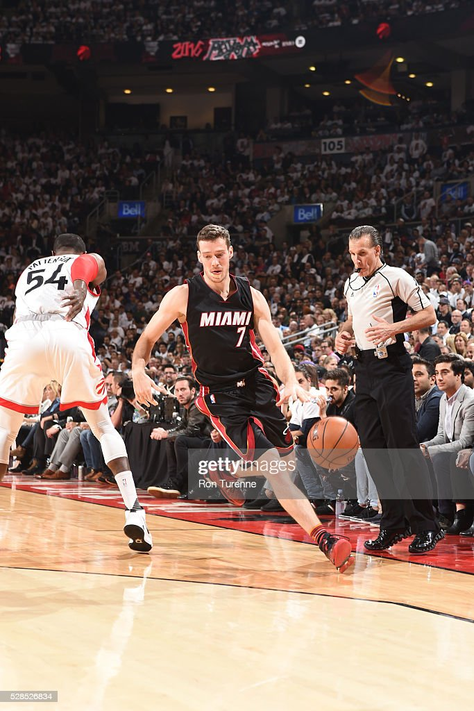 <a gi-track='captionPersonalityLinkClicked' href=/galleries/search?phrase=Goran+Dragic&family=editorial&specificpeople=4452965 ng-click='$event.stopPropagation()'>Goran Dragic</a> #7 of the Miami Heat handles the ball against the Toronto Raptors in Game Two of the Eastern Conference Semifinals on May 5, 2016 at the Air Canada Centre in Toronto, Ontario, Canada.