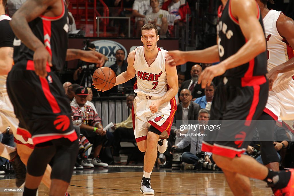Goran Dragic #7 of the Miami Heat handles the ball against the Toronto Raptors in Game Four of the Eastern Conference Semifinals at AmericanAirlines Arena on May 9, 2016 in Miami, Florida.