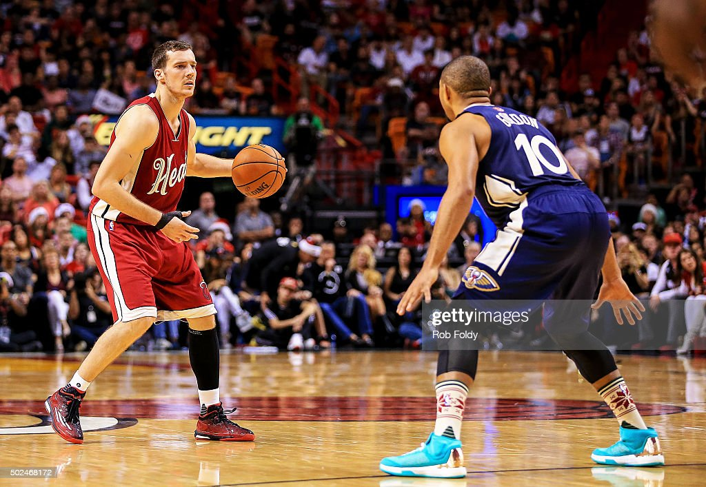 Goran Dragic #7 of the Miami Heat in action during the game against the New Orleans Pelicans at American Airlines Arena on December 25, 2015 in Miami, Florida.