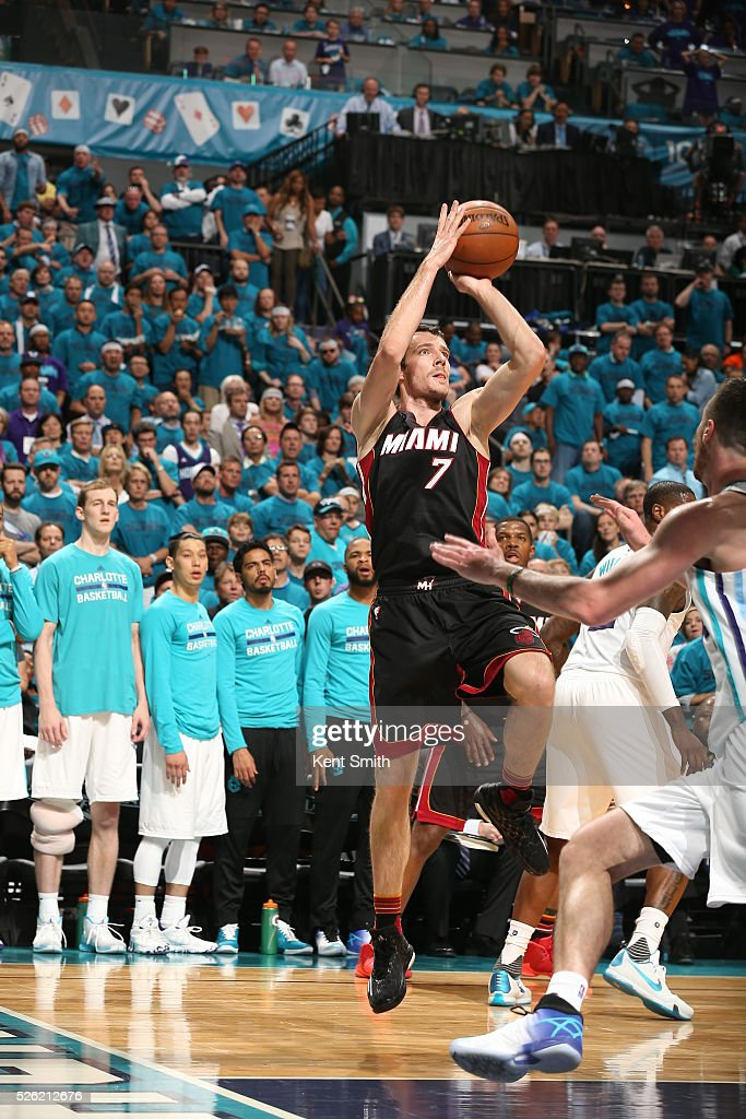 <a gi-track='captionPersonalityLinkClicked' href=/galleries/search?phrase=Goran+Dragic&family=editorial&specificpeople=4452965 ng-click='$event.stopPropagation()'>Goran Dragic</a> #7 of the Miami Heat shoots against the Charlotte Hornets in Game Six of the Eastern Conference Quarterfinals during the 2016 NBA Playoffs on April 29, 2016 at Time Warner Cable Arena in Charlotte, North Carolina.