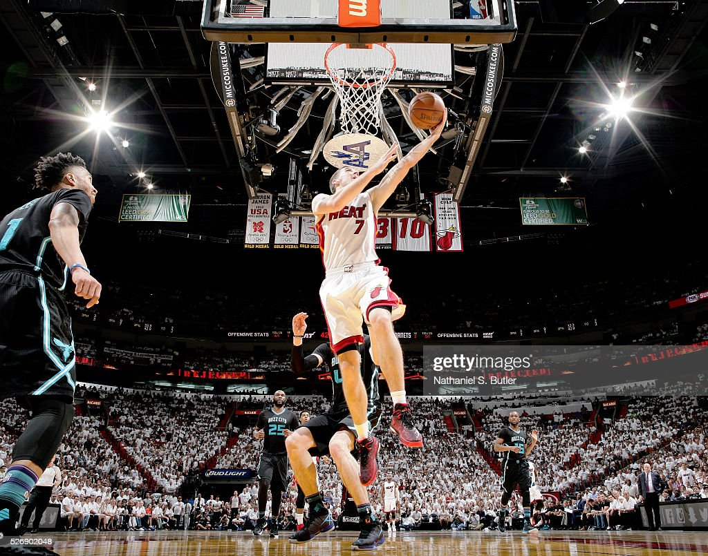<a gi-track='captionPersonalityLinkClicked' href=/galleries/search?phrase=Goran+Dragic&family=editorial&specificpeople=4452965 ng-click='$event.stopPropagation()'>Goran Dragic</a> #7 of the Miami Heat shoots the ball against the Charlotte Hornets in Game Seven of the Eastern Conference Quarterfinals during the 2016 NBA Playoffs on May 1, 2016 at American Airlines Arena in Miami, Florida.
