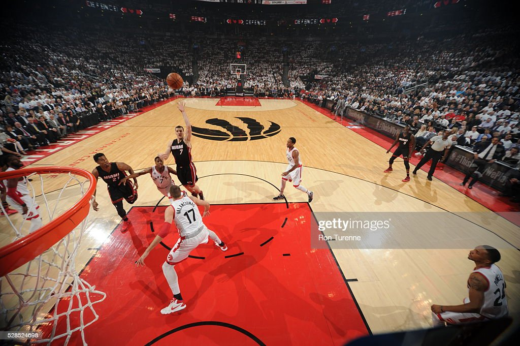 Goran Dragic #7 of the Miami Heat shoots the ball against the Toronto Raptors in Game Two of the Eastern Conference Semifinals on May 5, 2016 at the Air Canada Centre in Toronto, Ontario, Canada.