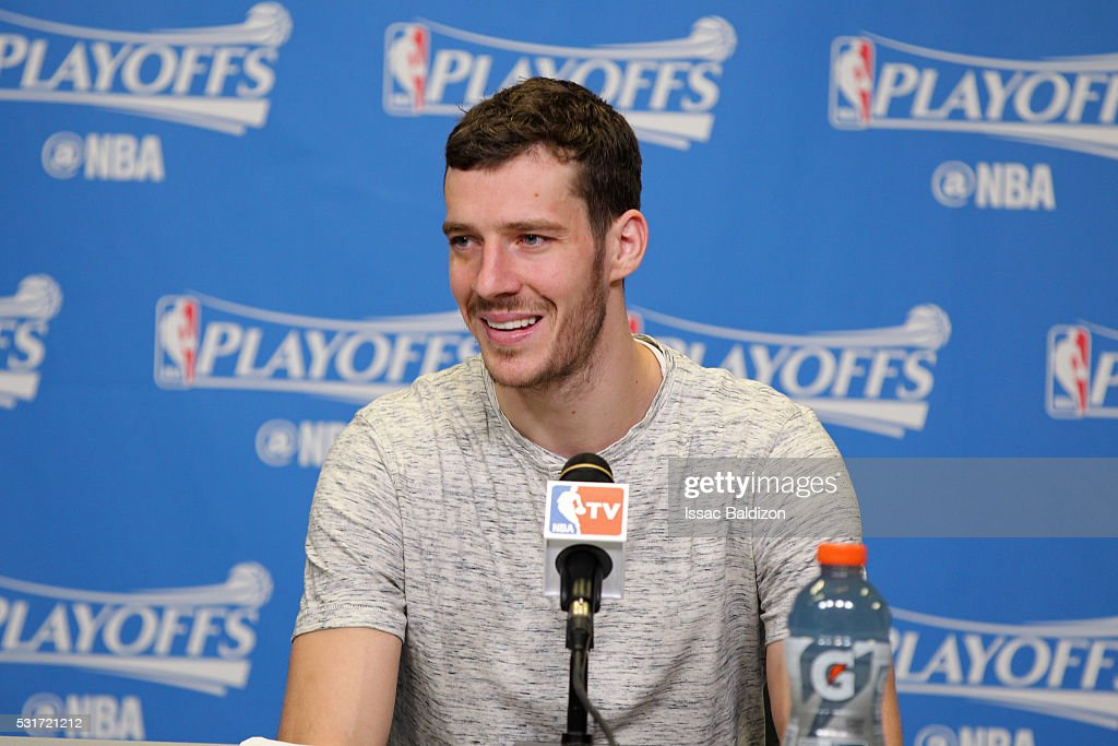 Goran Dragic #7 of the Miami Heat speaks at a press conference after Game Six of the Eastern Conference Semifinals against the Toronto Raptors during the 2016 NBA Playoffs on May 13, 2016 at AmericanAirlines Arena in Miami, Florida.