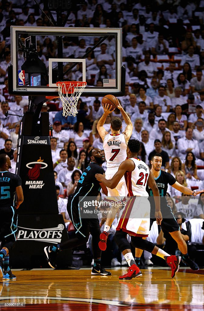 <a gi-track='captionPersonalityLinkClicked' href=/galleries/search?phrase=Goran+Dragic&family=editorial&specificpeople=4452965 ng-click='$event.stopPropagation()'>Goran Dragic</a> #7 of the Miami Heat takes a jump shot during Game Seven of the Eastern Conference Quarterfinals of the 2016 NBA Playoffs at American Airlines Arena on May 1, 2016 in Miami, Florida.