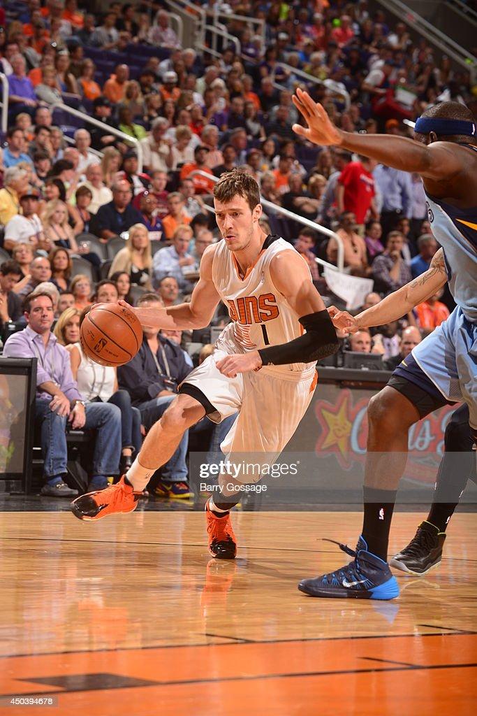 Goran Dragic #1 of the Pheonix Suns drives against the Memphis Grizzlies on April 14, 2014 at U.S. Airways Center in Phoenix, Arizona.