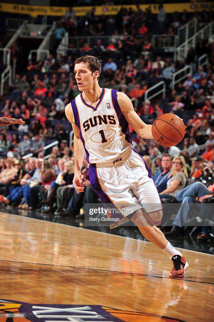 <a gi-track='captionPersonalityLinkClicked' href=/galleries/search?phrase=Goran+Dragic&family=editorial&specificpeople=4452965 ng-click='$event.stopPropagation()'>Goran Dragic</a> #1 of the Phoenix Suns brings the ball up court against the Dallas Mavericks on February 1, 2013 at U.S. Airways Center in Phoenix, Arizona.