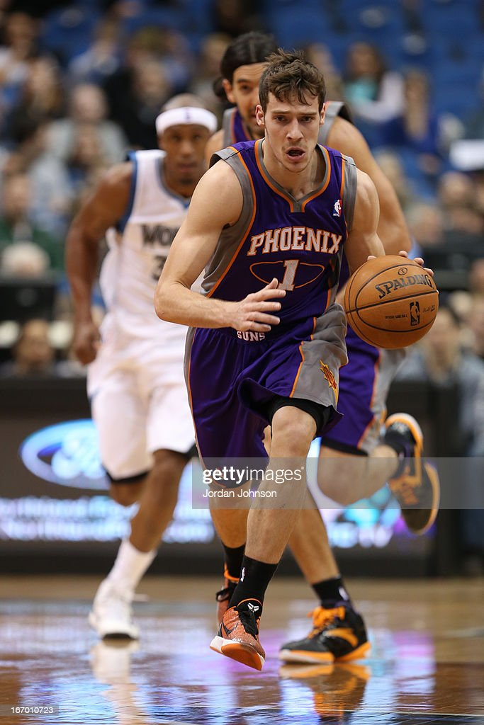 <a gi-track='captionPersonalityLinkClicked' href=/galleries/search?phrase=Goran+Dragic&family=editorial&specificpeople=4452965 ng-click='$event.stopPropagation()'>Goran Dragic</a> #1 of the Phoenix Suns brings the ball up court against the Minnesota Timberwolves on April 13, 2013 at Target Center in Minneapolis, Minnesota.