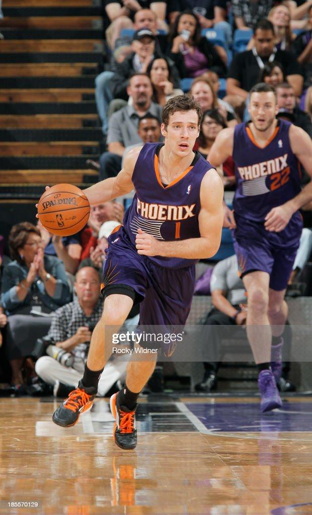Goran Dragic #1 of the Phoenix Suns brings the ball up the court against the Sacramento Kings on October 17, 2013 at Sleep Train Arena in Sacramento, California.