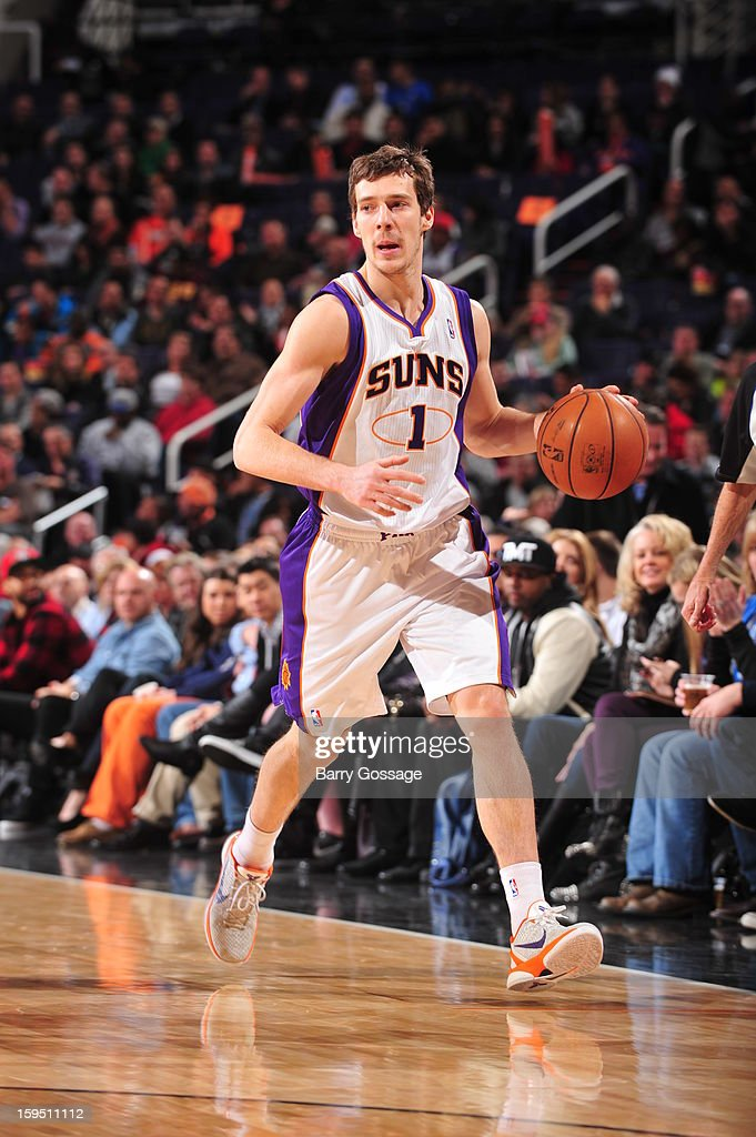Goran Dragic #1 of the Phoenix Suns brings the ball upcourt against the Oklahoma City Thunder on January 14, 2013 at U.S. Airways Center in Phoenix, Arizona.