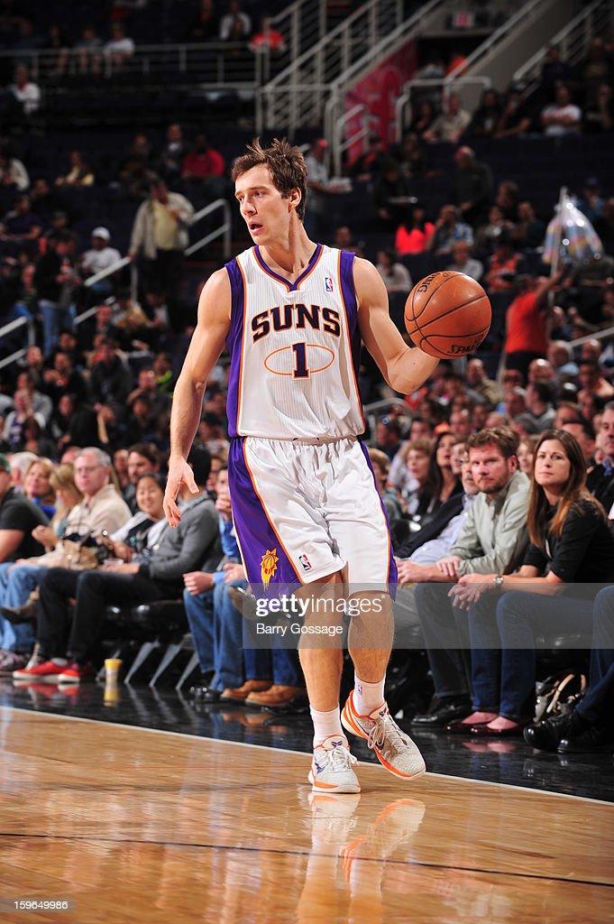 Goran Dragic #1 of the Phoenix Suns dribbles the ball up the floor against the Milwaukee Bucks on January 17, 2013 at U.S. Airways Center in Phoenix, Arizona.