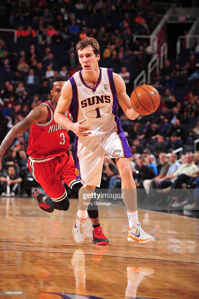 Goran Dragic #1 of the Phoenix Suns dribbles up the court against the Milwaukee Bucks on January 17, 2013 at U.S. Airways Center in Phoenix, Arizona.