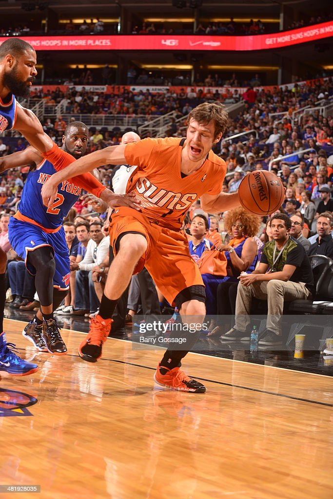 Goran Dragic #1 of the Phoenix Suns drives against the New York Knicks on March 28, 2014 at U.S. Airways Center in Phoenix, Arizona.