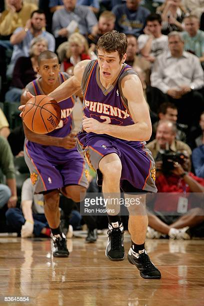 Goran Dragic of the Phoenix Suns drives the ball up court during the game against the Indiana Pacers at Conseco Fieldhouse on November 5 2008 in...