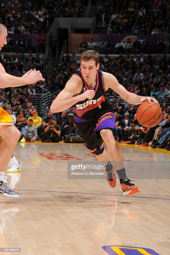 Goran Dragic #1 of the Phoenix Suns drives to the basket against the Los Angeles Lakers at Staples Center on February 12, 2013 in Los Angeles, California.