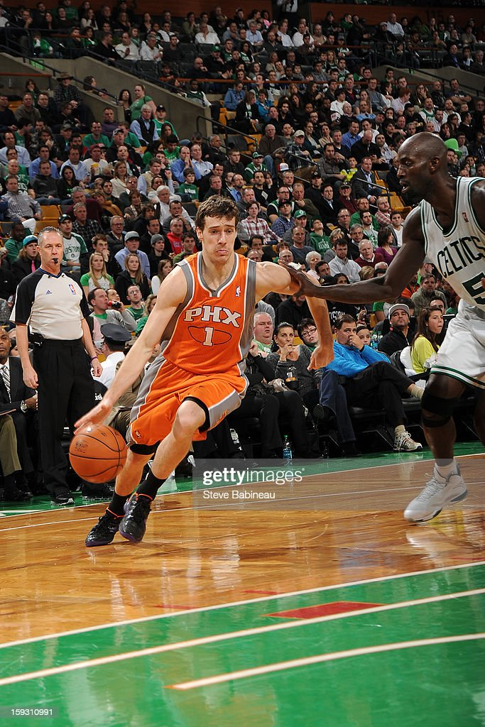 Goran Dragic #1 of the Phoenix Suns drives to the basket against the Boston Celtics on January 9, 2013 at the TD Garden in Boston, Massachusetts.