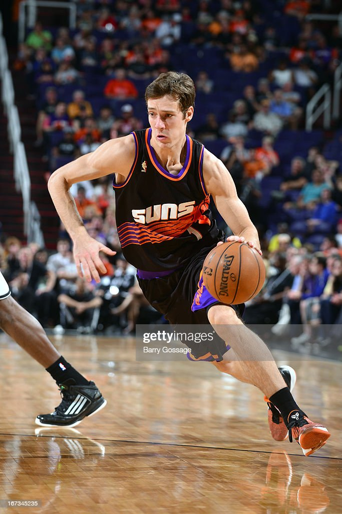<a gi-track='captionPersonalityLinkClicked' href=/galleries/search?phrase=Goran+Dragic&family=editorial&specificpeople=4452965 ng-click='$event.stopPropagation()'>Goran Dragic</a> #1 of the Phoenix Suns drives to the basket against the Brooklyn Nets on March 24, 2013 at U.S. Airways Center in Phoenix, Arizona.