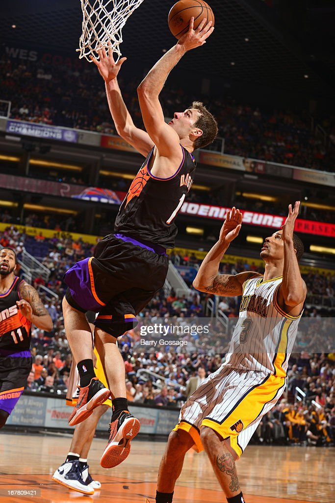 <a gi-track='captionPersonalityLinkClicked' href=/galleries/search?phrase=Goran+Dragic&family=editorial&specificpeople=4452965 ng-click='$event.stopPropagation()'>Goran Dragic</a> #1 of the Phoenix Suns drives to the basket against the Indiana Pacers on March 30, 2013 at U.S. Airways Center in Phoenix, Arizona.