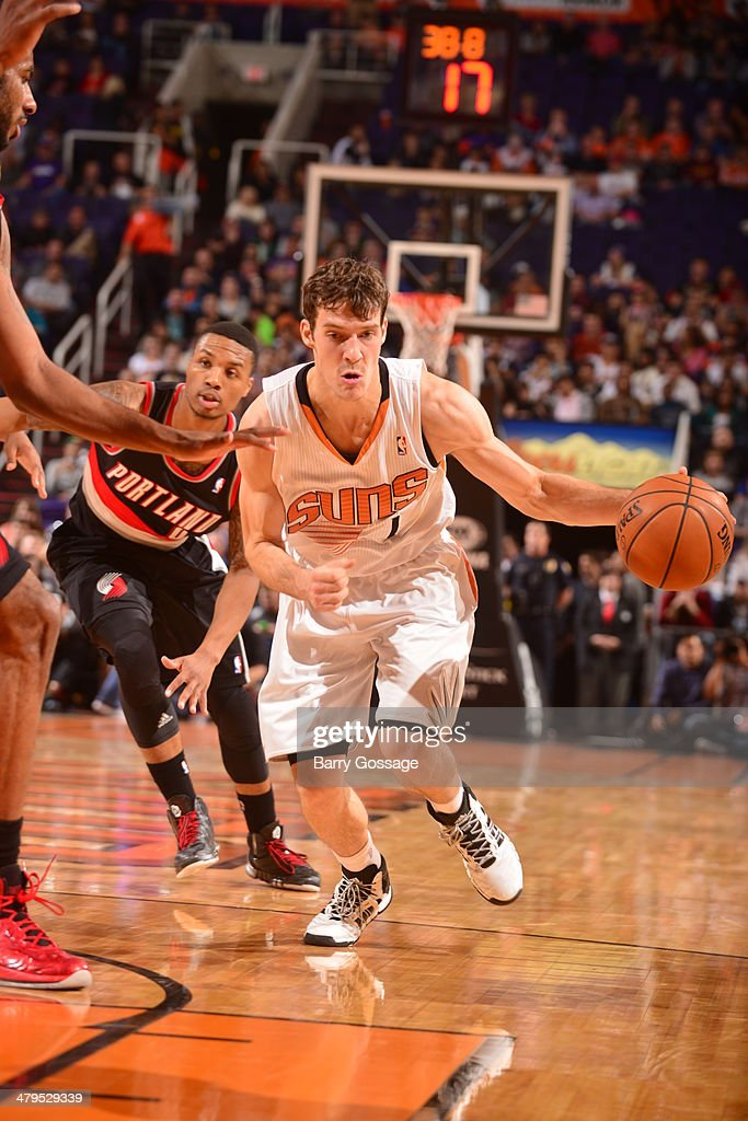 <a gi-track='captionPersonalityLinkClicked' href=/galleries/search?phrase=Goran+Dragic&family=editorial&specificpeople=4452965 ng-click='$event.stopPropagation()'>Goran Dragic</a> #1 of the Phoenix Suns drives to the basket against the Portland Trail Blazers on November 27, 2013 at U.S. Airways Center in Phoenix, Arizona.