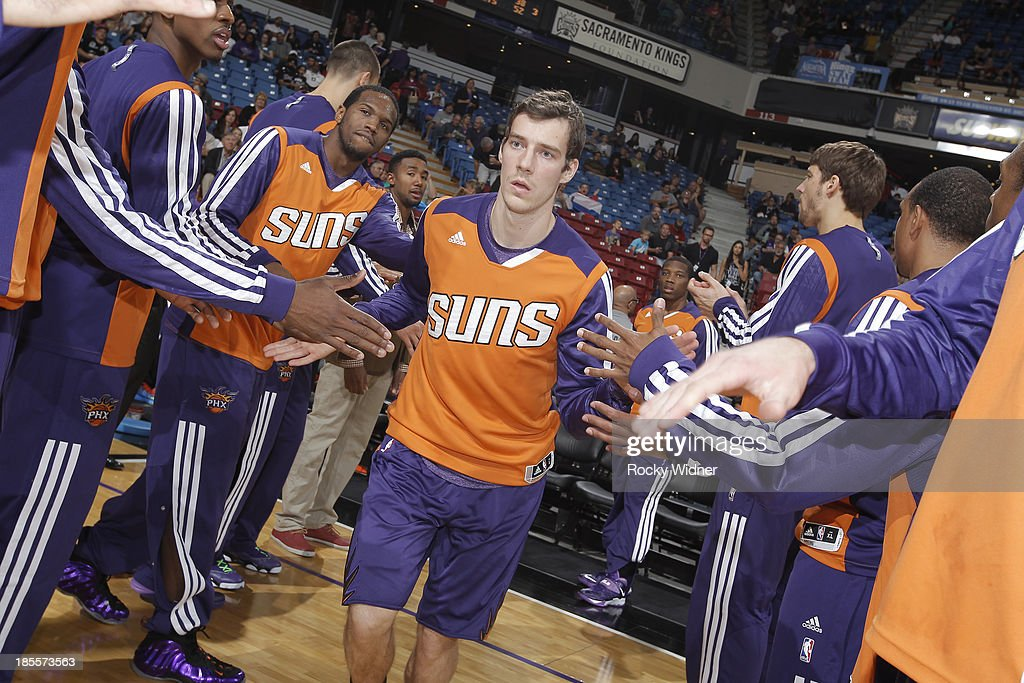 Goran Dragic #1 of the Phoenix Suns gets introduced into the starting lineup against the Sacramento Kings on October 17, 2013 at Sleep Train Arena in Sacramento, California.