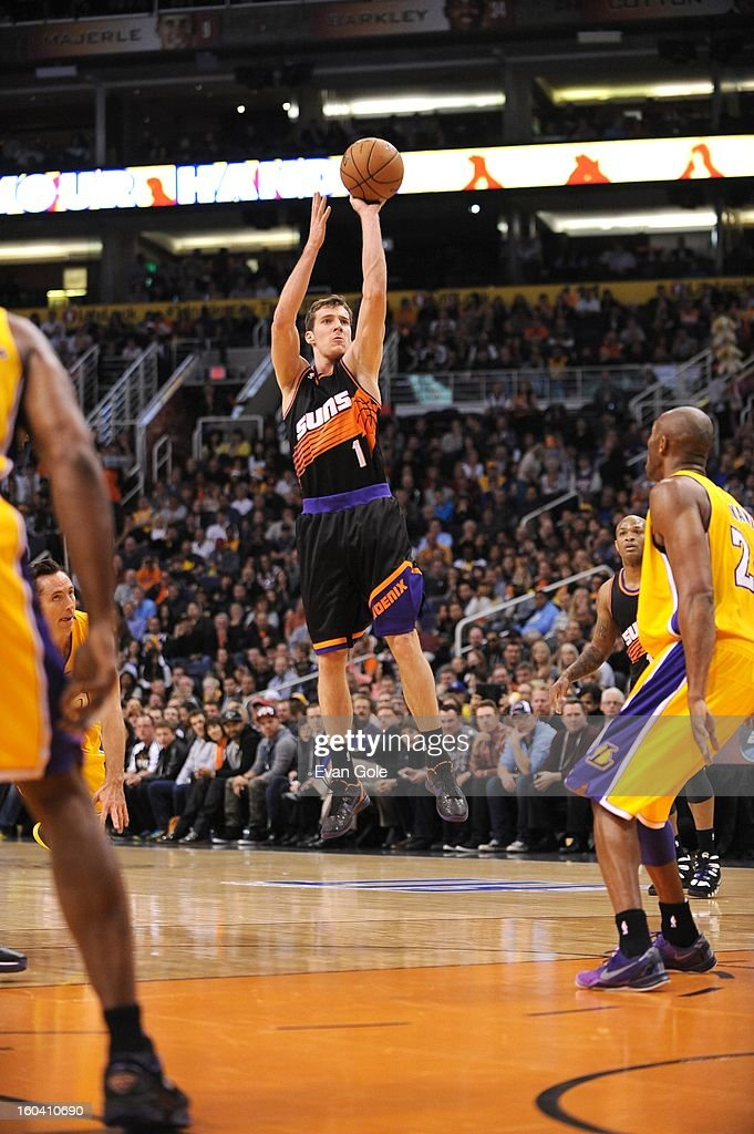 Goran Dragic #1 of the Phoenix Suns goes for a jump shot during the game between the Los Angeles Lakers and the Phoenix Suns at US Airways Center on January 30, 2013 in Phoenix, Arizona.