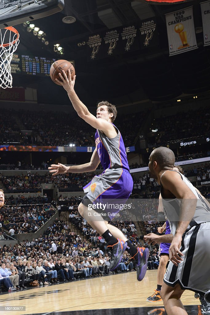 Goran Dragic #1 of the Phoenix Suns goes to the basket against the San Antonio Spurs on January 26, 2013 at the AT&T Center in San Antonio, Texas.