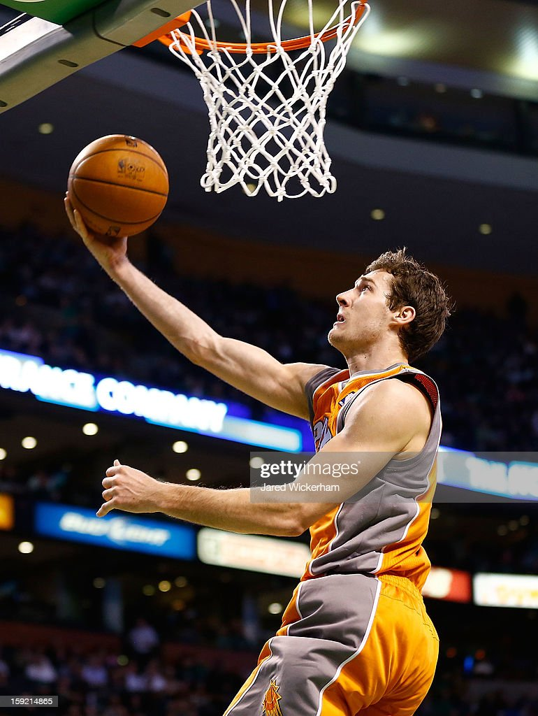 Goran Dragic #1 of the Phoenix Suns goes up for a layup against the Boston Celtics during the game on January 9, 2013 at TD Garden in Boston, Massachusetts.