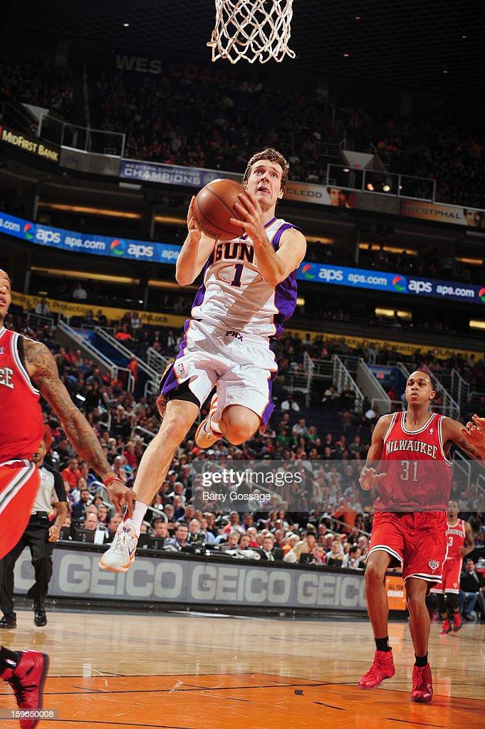 Goran Dragic #1 of the Phoenix Suns goes up for the layup against the Milwaukee Bucks on January 17, 2013 at U.S. Airways Center in Phoenix, Arizona.