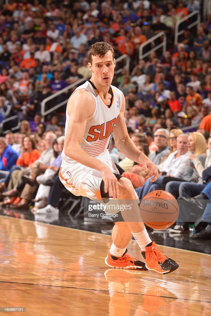 Goran Dragic #1 of the Phoenix Suns handles the ball against the Oklahoma City Thunder on April 6, 2014 at U.S. Airways Center in Phoenix, Arizona.