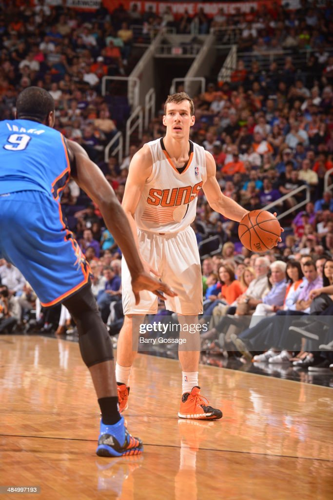 <a gi-track='captionPersonalityLinkClicked' href=/galleries/search?phrase=Goran+Dragic&family=editorial&specificpeople=4452965 ng-click='$event.stopPropagation()'>Goran Dragic</a> #1 of the Phoenix Suns handles the ball against the Oklahoma City Thunder on April 6, 2014 at U.S. Airways Center in Phoenix, Arizona.