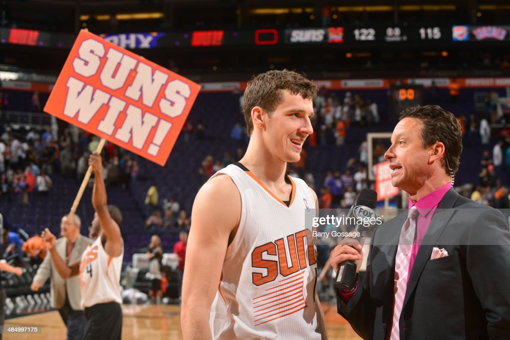 Goran Dragic #1 of the Phoenix Suns is interviewed after a game against the Oklahoma City Thunder on April 6, 2014 at U.S. Airways Center in Phoenix, Arizona.