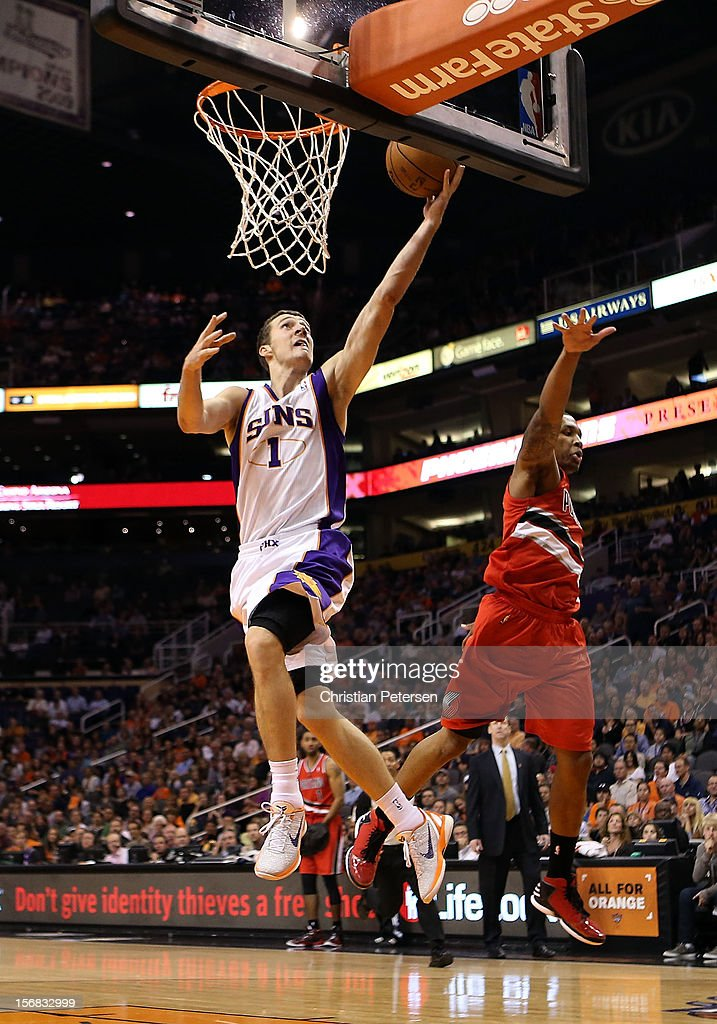 Goran Dragic #1 of the Phoenix Suns lays up a shot against the Portland Trail Blazers during the NBA game at US Airways Center on November 21, 2012 in Phoenix, Arizona. The Suns defeated the Trail Blazers 114-87.