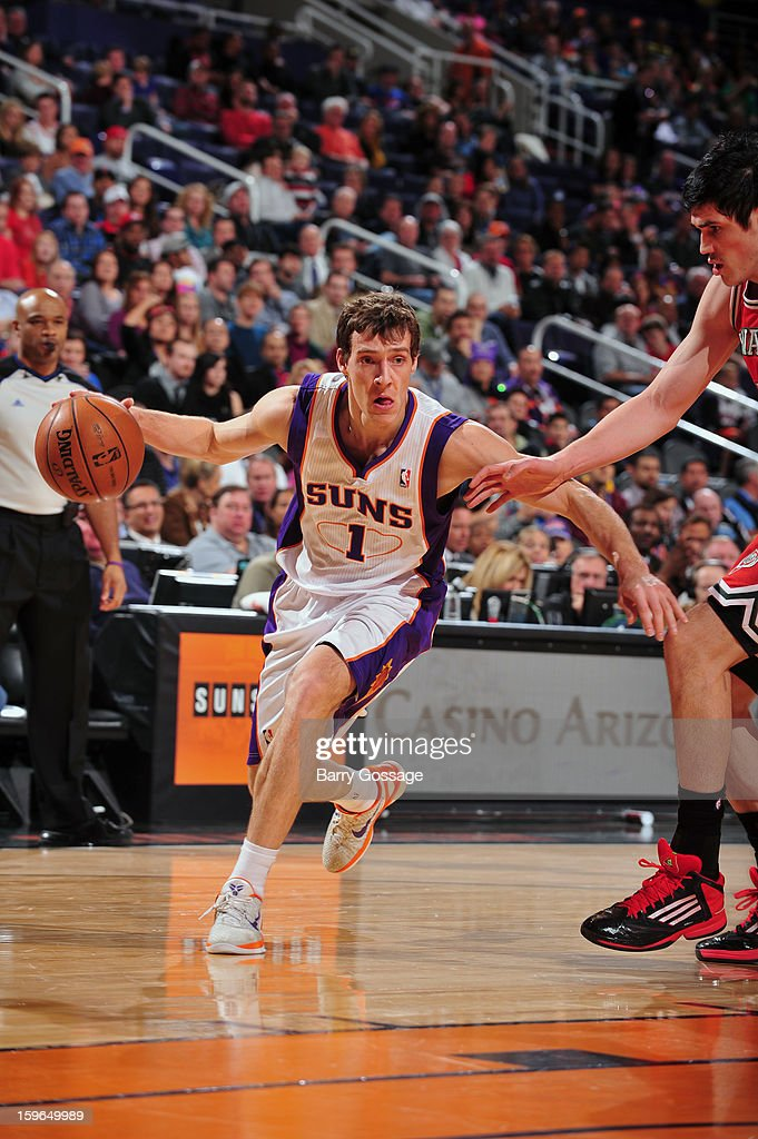 Goran Dragic #1 of the Phoenix Suns looks for an open man against the Milwaukee Bucks on January 17, 2013 at U.S. Airways Center in Phoenix, Arizona.