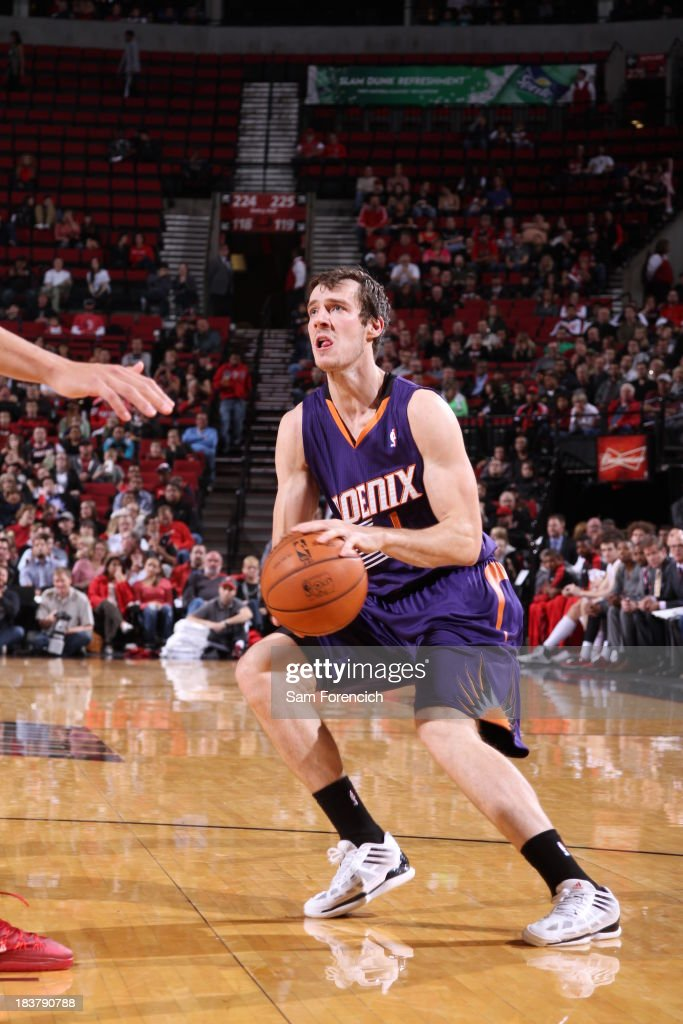 Goran Dragic #1 of the Phoenix Suns looks to shoots the ball against the Portland Trail Blazers on October 9, 2013 at the Moda Center Arena in Portland, Oregon.