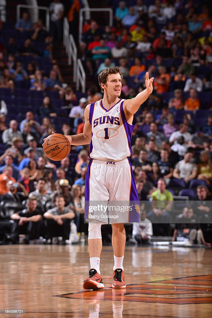 Goran Dragic #1 of the Phoenix Suns makes a call to his teammates against the Minnesota Timberwolves on March 22, 2013 at U.S. Airways Center in Phoenix, Arizona.
